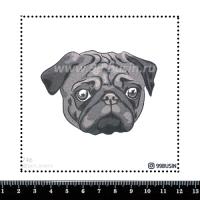 Шаблон для броши Мопс 746 фетр Корея Премиум, толщина 1,25 мм, размер 10*10 см 064668 - 99 бусин
