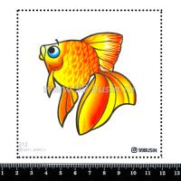 Шаблон для броши Золотая рыбка 312 фетр Корея Премиум, толщина 1,25 мм, размер 10*10 см 064675 - 99 бусин
