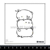 Шаблон для броши Зайки 785 фетр Корея Премиум, толщина 1,25 мм, размер 10*10 см 064684 - 99 бусин