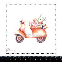 Шаблон для броши Мопед с цветами 149 фетр Корея Премиум, толщина 1,25 мм, размер 10*10 см 064690 - 99 бусин