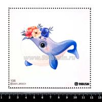 Шаблон для броши Кит с цветочками 106 фетр Корея Премиум, толщина 1,25 мм, размер 10*10 см 064694 - 99 бусин