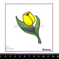 Шаблон для броши Тюльпан 1071 фетр Корея Премиум, толщина 1,25 мм, размер 10*10 см 064696 - 99 бусин