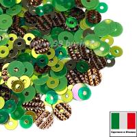 Микс пайеток ПАДУЯ плоские 3 мм 7400, 2071, 726W 4 мм плоские 7353 4 мм рифлёные G10 (зелёный, салатовый, золотой) Италия 3 грамма 064698 - 99 бусин