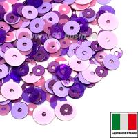 Микс пайеток БРЕШИА плоские 3 мм 3504, 5031 4 мм плоские Lilla, I10 5 мм плоские Rosa (розовый, фиолетовый, сиреневый) Италия 3 грамма 064699 - 99 бусин