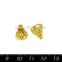 Колпачок Премиум Купол 11*12 мм цвет золото 1 штука 064707 - 99 бусин