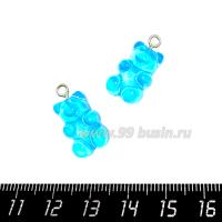 """Подвеска акриловая """"Мармеладный мишка"""" цвет голубой, размер 21*11 мм 1 штука 064710 - 99 бусин"""