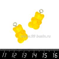 """Подвеска акриловая """"Мармеладный мишка"""" цвет лимонный, размер 21*11 мм 1 штука 064712 - 99 бусин"""