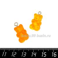 """Подвеска акриловая """"Мармеладный мишка"""" цвет апельсиновый, размер 21*11 мм 1 штука 064713 - 99 бусин"""