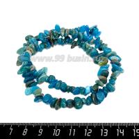 Натуральный камень АПАТИТ крошка 14*3-3*4 мм, оттенки морской волны, около 43 см/нить 064716 - 99 бусин
