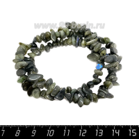 Натуральный камень ЛАБРАДОРИТ крошка 11*4-3*4 мм, серебристо-серые тона с синим отливом, около 44 см/нить 064717 - 99 бусин