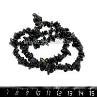 Натуральный камень ОБСИДИАН ЗОЛОТИСТЫЙ крошка 7*3-14*5 мм, черные с оливково-золотистым отливом тона, около 40 см/нить 064718 - 99 бусин