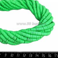 """Бусины """"Диски"""" резиновые, размер 6*1 мм, цвет Зелёный, около 43 см/нить 064723 - 99 бусин"""
