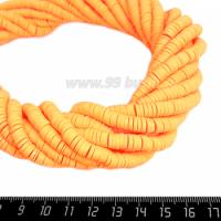 """Бусины """"Диски"""" резиновые, размер 6*1 мм, цвет Светло-оранжевый, около 43 см/нить 064725 - 99 бусин"""