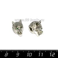 Бусина Премиум Голова животного с открытой пастью и зелёными глазами 15,5*11*12,5 мм, внутреннее отверстие 2 мм, зелёные микроцирконы, родирование, 1 штука 064741 - 99 бусин