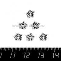 Разделитель Звездочка, размер 7*1 мм, цвет старое серебро, 20 штук/упаковка 064747 - 99 бусин