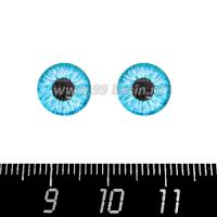 Декоративный элемент Глаза/круглый зрачок/голубой, кабашон стеклянный 10 мм, ручная работа, 2 глаза/упаковка 064755 - 99 бусин