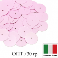 ОПТ Пайетки Италия лаковые 8 мм цвет Rosa (нежно-розовый глянец) 30 гр. 064756 - 99 бусин