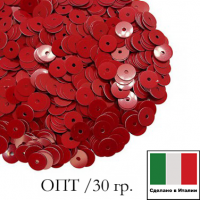 ОПТ Пайетки Италия лаковые 5 мм цвет Rosso (алый) 30 гр. 064762 - 99 бусин