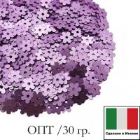 ОПТ Пайетки 5 мм Италия Цветочки цвет 506W Lilla Satinato (Сиреневый сатин) 30 гр. 064767 - 99 бусин
