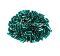 Стеклярус 7 мм граненый Чехия Preciosa изумрудно-зеленый огонёк 57710 упаковка 10 грамм 07R57710 - 99 бусин