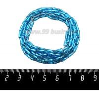 Стеклярус 7 мм витой на нити для люневильской вышивки, огонек ярко-синие тона, арт. 67150, 2 нити по 50 см (6 грамм/упаковка), Чехия 07R67150V - 99 бусин