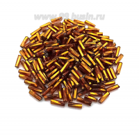 Стеклярус 7 мм Чехия Preciosa витой коньячный огонёк 17090, упаковка 10 грамм 07S17090 - 99 бусин