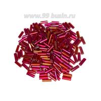 Стеклярус 7 мм Чехия Preciosa красно-розовый ирис 91090 УП. 10 грамм, Чехия 07R91090 - 99 бусин