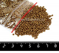 Бисер Чехия глазурованный, размер 10, арт. 01740, жемчужные золотистые тона, 50 грамм 10b01740b - 99 бусин