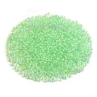 Бисер Чехия PRECIOSA прозрачный хрустальный, прокрашенное отверстие, размер 10, арт. 58552 светло-зелёные тона 10 грамм 10b58552 - 99 бусин