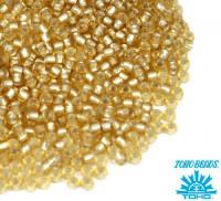 Бисер TOHO №11 цвет 22F прозрачный медовый матовый серебряное отверстие ЯПОНИЯ пакет 10 граммов t110022F - 99 бусин
