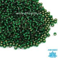 Бисер TOHO №11 цвет 0036 ярко-зеленый внутреннее серебрение ЯПОНИЯ пакет 10 граммов t110036 - 99 бусин