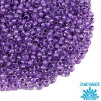 Бисер TOHO №11 цвет 0935 прозрачный хрустальный с фиолетовым центром ЯПОНИЯ пакет 10 граммов t110935 - 99 бусин