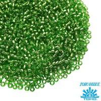 Бисер TOHO №15 цвет 0027 зеленый внутреннее серебрение ЯПОНИЯ пакет 5 граммов t150027 - 99 бусин