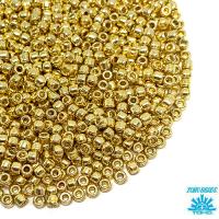 Бисер TOHO №15 цвет PF0557 (Galvanized Aluminum Permanent Finish) гальванизированный золотистый ЯПОНИЯ пакет 5 граммов t15PF0557 - 99 бусин