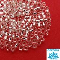 Бисер TOHO №8 цвет 21 прозрачный внутреннее серебрение ЯПОНИЯ пакет 10 граммов t80021 - 99 бусин