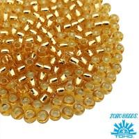 Бисер TOHO №8 цвет 22 светло-золотистый внутреннее серебрение ЯПОНИЯ пакет 10 граммов t80022 - 99 бусин